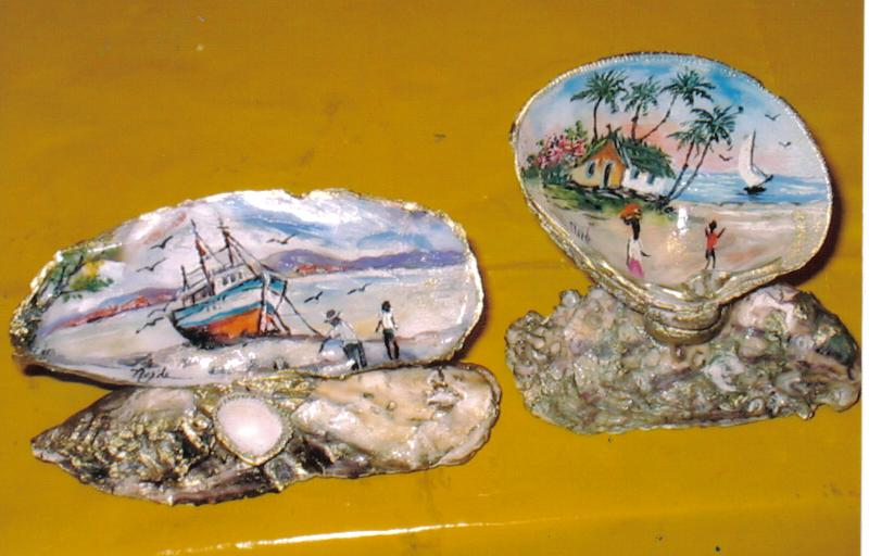 Conchas mar pintadas a m o waf - Como hacer conchas finas ...