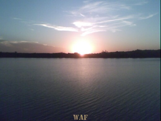 por do sol no rio Yaguaron RS Brasil