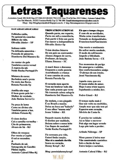 LETRAS TAQUARENSES 44 * vide blog http://letrastaquarenses.blogspot.com.br