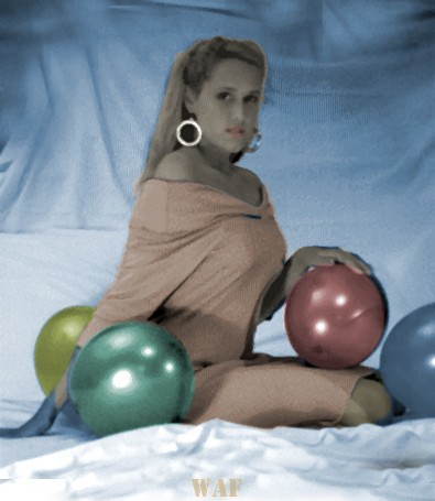 Janet, with balloons