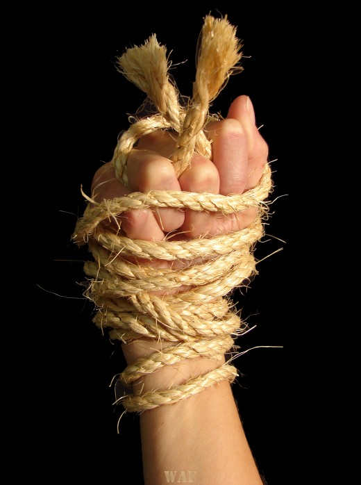 a Bound hand in rope