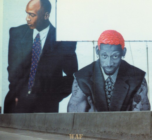 the Bulls 1990s wall mural off I94 in Chicago