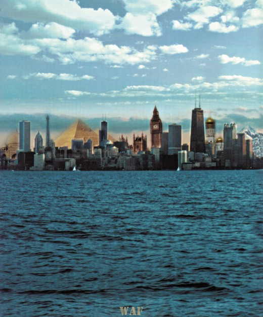 Chicago skyline with International building collage