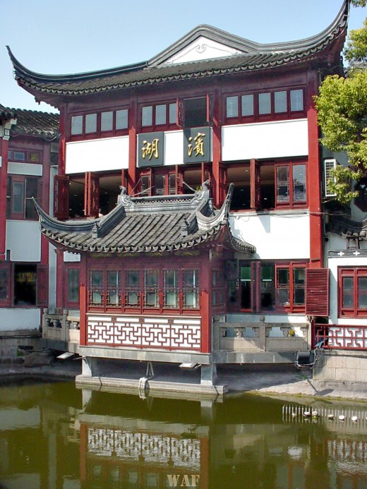 a Confucius Temple building along the water (Shanghai, China)
