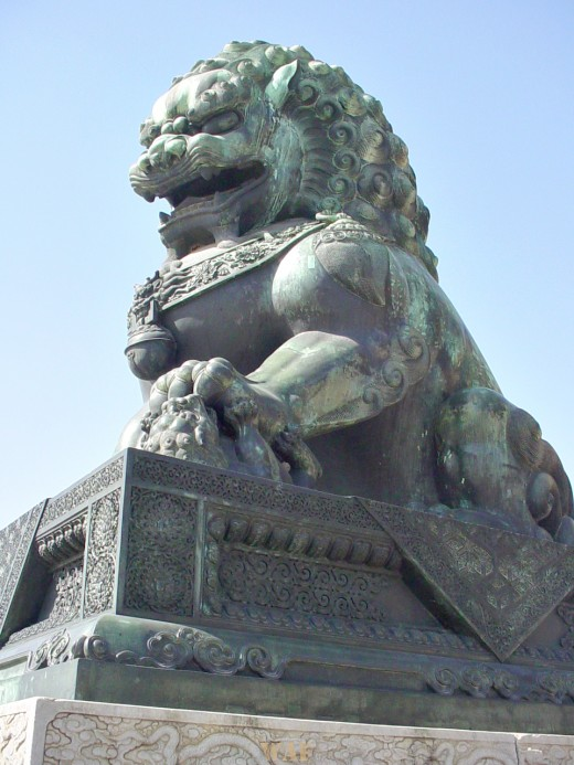 a female lion on display outdoors at the Forbidden City (Beijing, China)