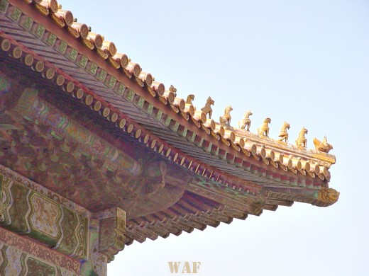 roof ornamentation on a building at the Forbidden City (Beijing, China)