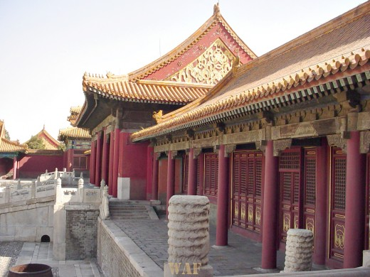 a scene of buildings and walkway at the Forbidden City (Beijing, China)