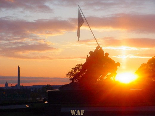 the Iwo Jima Memorial at sunset (10/25/03)