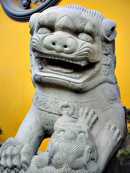 a Lion Statue at the Jade Buddha (Shanghai, China)