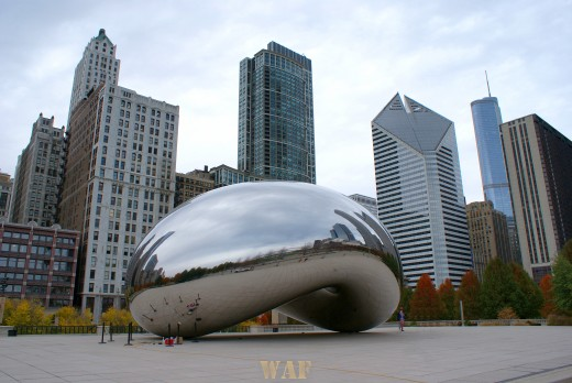 the Millennium Bean and the Chicago skyline 11/10/09