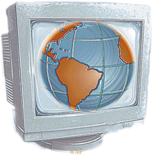 a globe drawing inside of a computer monitor (plastic wrap)