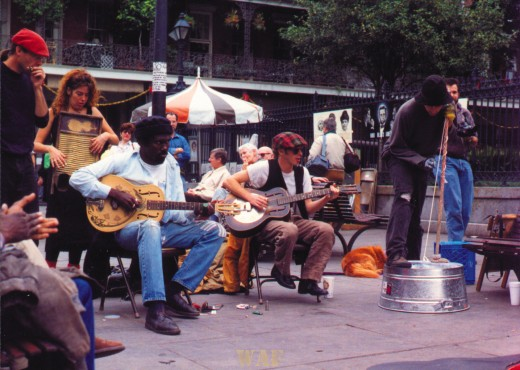 a New Orleans (LA) street band at Jackson Square