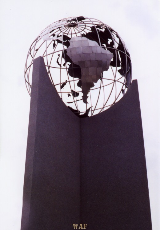 a Globe statue (in front of a church) in Omaha, NE