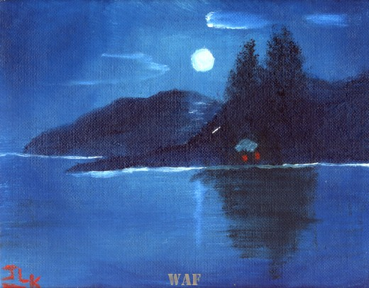 an oil painting of the moon over a house on a lake in the night sky