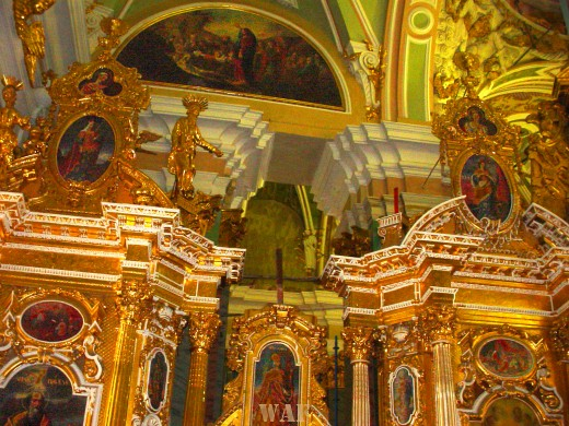 some of the ceiling interior of the St. Peter and Paul Cathedral in St. Petersburg Russia