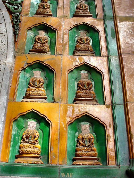 a Wall of Headless Buddhas at the Summer Palace (Beijing, China)