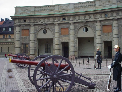 the Guards and Cannons in Stockholm, Sweden