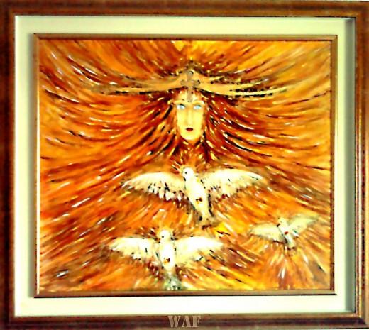 Elisabetta Errani Emaldi's work of art - Angel of peace with doves